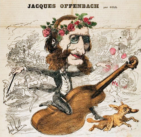 Offenbach mounts a violin, like a racehorse.